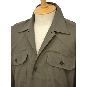 ORIAN【オリアン】ベルテッドサファリシャツジャケット LARMY U323 75 リネンコットン オリーブ|cinqessentiel|02
