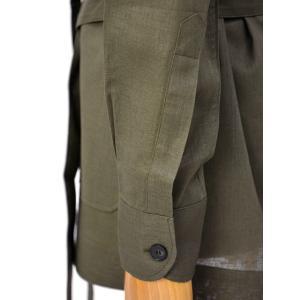 ORIAN【オリアン】ベルテッドサファリシャツジャケット LARMY U323 75 リネンコットン オリーブ|cinqessentiel|04