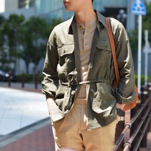 ORIAN【オリアン】ベルテッドサファリシャツジャケット LARMY U323 75 リネンコットン オリーブ|cinqessentiel|06