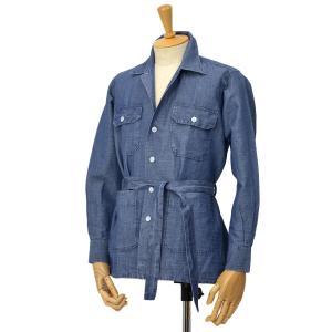 ORIAN【オリアン】ベルテッドサファリシャツジャケット LARMY D569 22E リネンコットン インディゴ|cinqessentiel