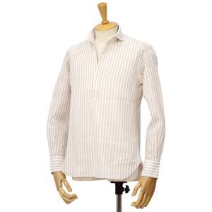 ORIAN【オリアン】スキッパーストライプシャツ KH30F R481 12 コットンリネン ベージュ|cinqessentiel