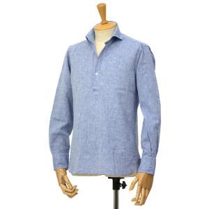 ORIAN【オリアン】スキッパーシャツ KH30F 02U323 22 コットンリネン ブルー|cinqessentiel