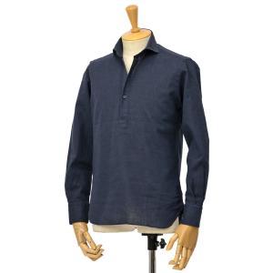 ORIAN【オリアン】スキッパーシャツ KH30F 02U323 24 コットンリネン ネイビー|cinqessentiel