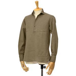 ORIAN【オリアン】スキッパーシャツ KH30F 02U323 75 コットンリネン オリーブ|cinqessentiel