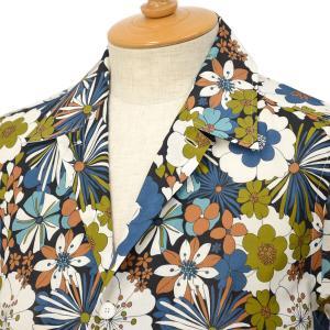 ORIAN【オリアン】ビッグフラワープリントシャツ MARMY P380 75 コットン ブルー|cinqessentiel