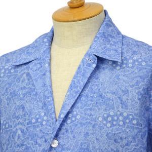 ORIAN【オリアン】プリントシャツ MARMY P292 20 コットン ブルー|cinqessentiel