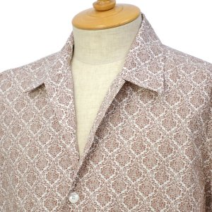 ORIAN【オリアン】プリントシャツ MARMY P346 60 コットン ブラウン|cinqessentiel