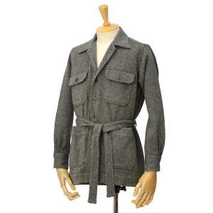 ORIAN【オリアン】ベルテッドサファリシャツジャケット LARMY L006 80 ウール ヘリンボーン グレー cinqessentiel