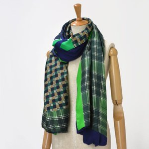 Pierre Louis Mascia【ピエールルイマシア】ダブルフェイスストール B312/29977 silk wool rayon GREEN/NAVY(グリーン /ネイビー)|cinqessentiel