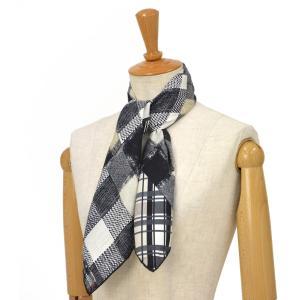 Pierre Louis Mascia【ピエールルイマシア】スカーフ  ALOE65 44070 シルク ブラック ホワイト|cinqessentiel