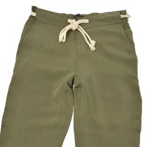 PT01 woman pants【ピーティーゼロウーノ】ドローストリング ワイドパンツ SL02 CHANTAL 0445 キュプラ カーキ|cinqessentiel