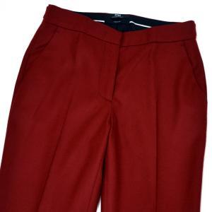 PT01 woman pants【ピーティーゼロウーノ】裾ダブル ベルトレスパンツ ANDOREA RG09 0650 ウール ナイロン レッド|cinqessentiel