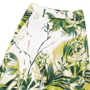PT01 woman pants【ピーティーゼロウーノ】ボタニカルワイドパンツ JUDI AP44 0450 コットン ホワイト グリーン|cinqessentiel