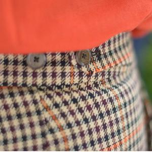 PT01 woman pants【ピーティーゼロウーノ】裾ダブル ベルトレスパンツ ANDOREA BT40 0060 ウール ポリエステル ベージュ オレンジ cinqessentiel 09