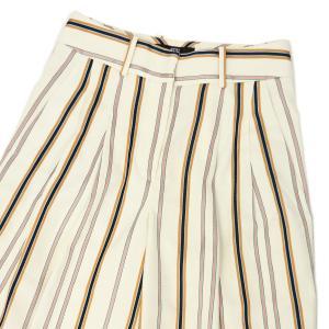 PT01 woman pants【ピーティーゼロウーノ】ツータックマルチストライプテーパードパンツ DORA  BT46 0015 コットンリネン ホワイト|cinqessentiel