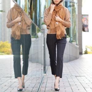PT01 woman pants【ピーティーゼロウーノ】9分丈ストライプパンツ HOLLY CM05 0180 ウール チャコールグレー|cinqessentiel|07