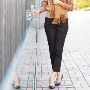 PT01 woman pants【ピーティーゼロウーノ】9分丈ストライプパンツ HOLLY CM05 0180 ウール チャコールグレー|cinqessentiel|08