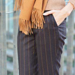 PT01 woman pants【ピーティーゼロウーノ】9分丈ストライプパンツ HOLLY CM05 0180 ウール チャコールグレー|cinqessentiel|09
