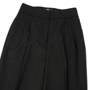 PT01 woman pants【ピーティーゼロウーノ】ツータックテーパードパンツ ALMA VB17 0990 ウール ブラック|cinqessentiel