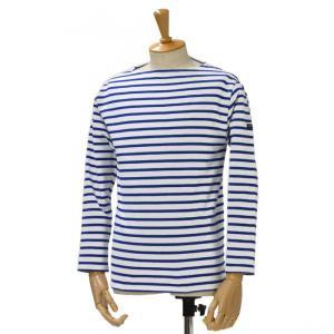 SAINT JAMES【セントジェームス】ボートネック長袖バスクシャツ ウエッソン OUESSANT NEIGE/GITANE(ホワイト/コバルトブルー)|cinqessentiel