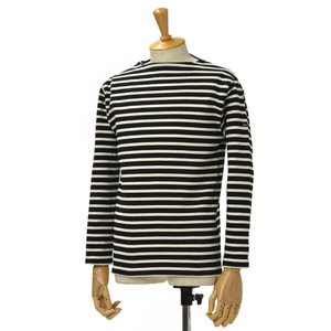 SAINT JAMES【セントジェームス】ボートネック長袖ボーダーバスクシャツ ウエッソン OUESSANT BORDER NOIR/ECRU(ブラック/生成り)|cinqessentiel