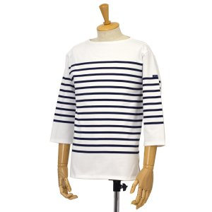 SAINT JAMES【セントジェームス】ボートネック七分袖バスクシャツ ナヴァル NAVAL NEIGE/MARINE(ホワイト/ネイビー)|cinqessentiel