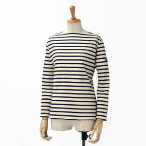 SAINT JAMES【セントジェームス】ボートネック長袖バスクシャツ ウエッソン OUESSAN  ECRU/MARINE(生成り/ネイビー)|cinqessentiel