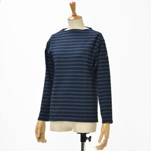SAINT JAMES【セントジェームス】ボートネック長袖バスクシャツ ウエッソン OUESSAN NAVY PIN(ネイビー/グリーン)|cinqessentiel
