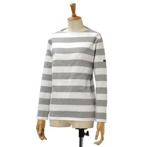 SAINT JAMES【セントジェームス】ボートネック長袖バスクシャツ ウエッソン ワイドボーダーOUESSANT NEIGE/GRIS ホワイト/グレー|cinqessentiel