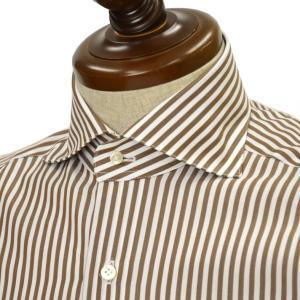 BARBA【バルバ】ドレスシャツ BRUNO I1U262U01659R コットン ロンドンストライプ ブラウン×ホワイト|cinqueclassico