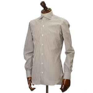 BARBA【バルバ】ドレスシャツ BRUNO I1U262U01659R コットン ロンドンストライプ ブラウン×ホワイト|cinqueclassico|02