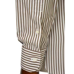 BARBA【バルバ】ドレスシャツ BRUNO I1U262U01659R コットン ロンドンストライプ ブラウン×ホワイト|cinqueclassico|06
