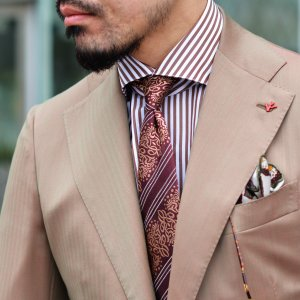 BARBA【バルバ】ドレスシャツ BRUNO I1U262U01659R コットン ロンドンストライプ ブラウン×ホワイト|cinqueclassico|07