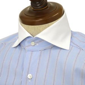 BARBA【バルバ】ドレスシャツ BRUNO I1U262U02303R コットン クレリック ストライプ ブルー×ホワイト cinqueclassico