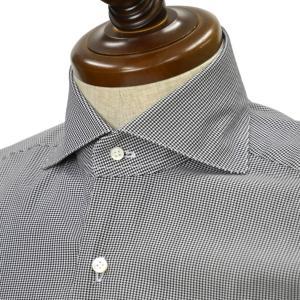 BARBA【バルバ】ドレスシャツ BRUNO I1U262U03210U コットン ハウンドトゥース ブラック×ホワイト cinqueclassico