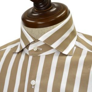 BARBA【バルバ】ドレスシャツ BRUNO I1U262U05231R コットン ストライプ ベージュ×ホワイト cinqueclassico