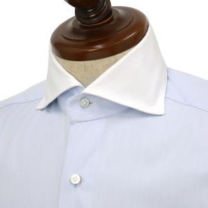 BARBA【バルバ】ドレスシャツ  BRUNO I1U262552803U フラシ コットン クレリック ツイル ブルー×ホワイト|cinqueclassico
