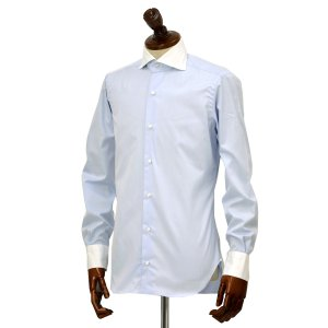 BARBA【バルバ】ドレスシャツ  BRUNO I1U262552803U フラシ コットン クレリック ツイル ブルー×ホワイト|cinqueclassico|02