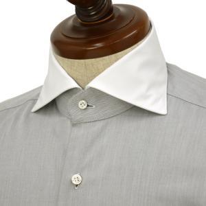 BARBA【バルバ】ドレスシャツ  BRUNO I1U262552806U フラシ コットン クレリック ツイル グレー×ホワイト|cinqueclassico