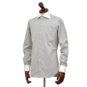 BARBA【バルバ】ドレスシャツ  BRUNO I1U262552806U フラシ コットン クレリック ツイル グレー×ホワイト|cinqueclassico|02