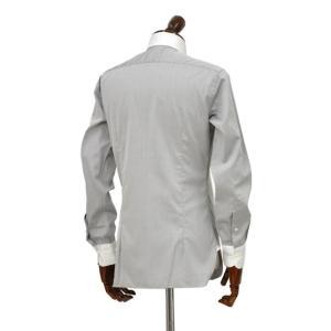 BARBA【バルバ】ドレスシャツ  BRUNO I1U262552806U フラシ コットン クレリック ツイル グレー×ホワイト|cinqueclassico|03