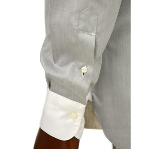 BARBA【バルバ】ドレスシャツ  BRUNO I1U262552806U フラシ コットン クレリック ツイル グレー×ホワイト|cinqueclassico|05