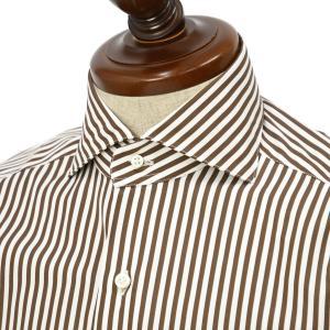 BARBA【バルバ】ドレスシャツ  BRUNO I1U262596113U フラシ コットン ロンドンストライプ ブラウン×ホワイト|cinqueclassico