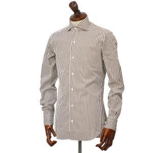 BARBA【バルバ】ドレスシャツ  BRUNO I1U262596113U フラシ コットン ロンドンストライプ ブラウン×ホワイト|cinqueclassico|02