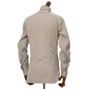 BARBA【バルバ】ドレスシャツ  BRUNO I1U262596113U フラシ コットン ロンドンストライプ ブラウン×ホワイト|cinqueclassico|03