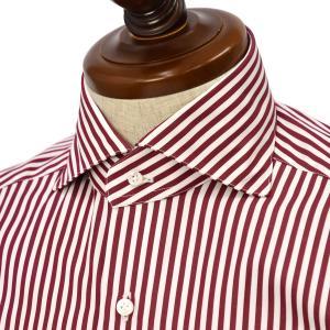 BARBA【バルバ】ドレスシャツ  BRUNO I1U262U07224R フラシ コットン ロンドンストライプ レッド|cinqueclassico
