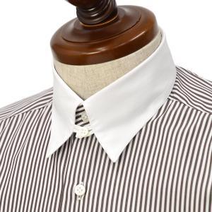 BARBA【バルバ】ドレスシャツ  TAB I1U682U07197R フラシ コットン クレリック ロンドンストライプ ブラウン|cinqueclassico