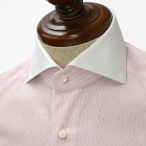 BARBA【バルバ】ドレスシャツ I BRUNO I1U262310821 コットン クレリック ストライプ ピンク×ホワイト cinqueclassico