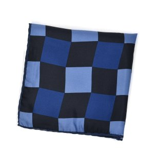 FRANCOBASSI【フランコバッシ】チーフ U20I 5044/4 シルク ブロックチェック ネイビー×ブルー cinqueclassico