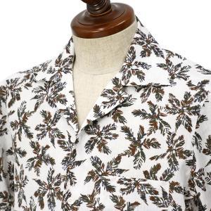 BARBA DANDY LIFE【バルバ ダンディライフ】半袖オープンカラーシャツ PB6578201S コットン リネン ボタニカル ホワイト×ブラウン|cinqueclassico